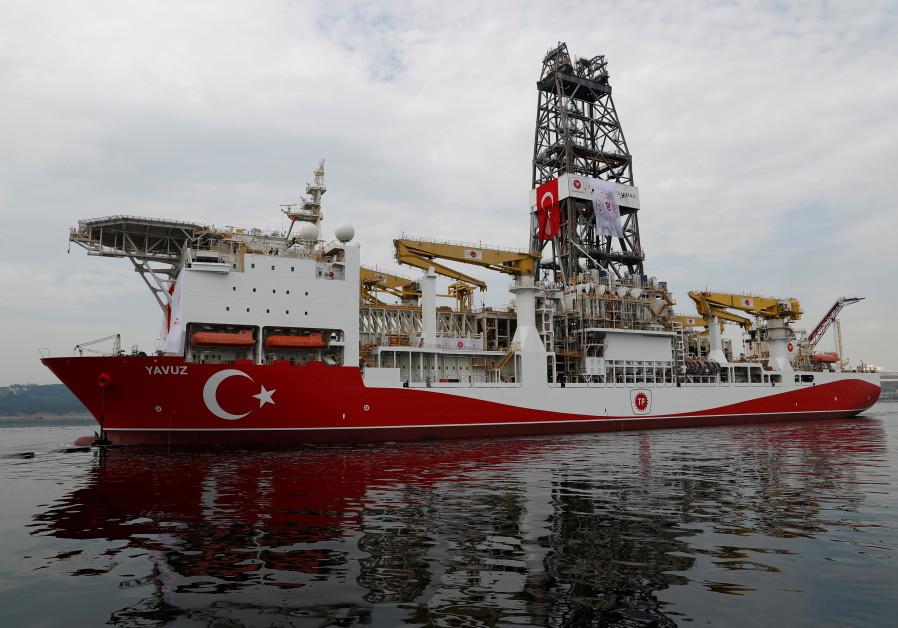 Turkish drilling vessel Yavuz sets sail in Izmit Bay, on its way to the Mediterranean Sea, off the p