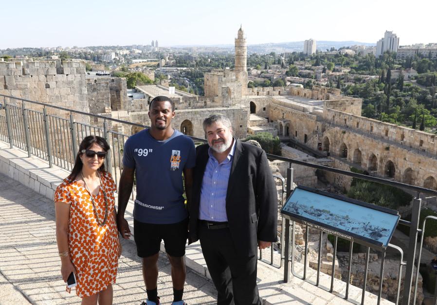 NFL quarterback Deshaun Watson overlooking the old city in Jerusalem