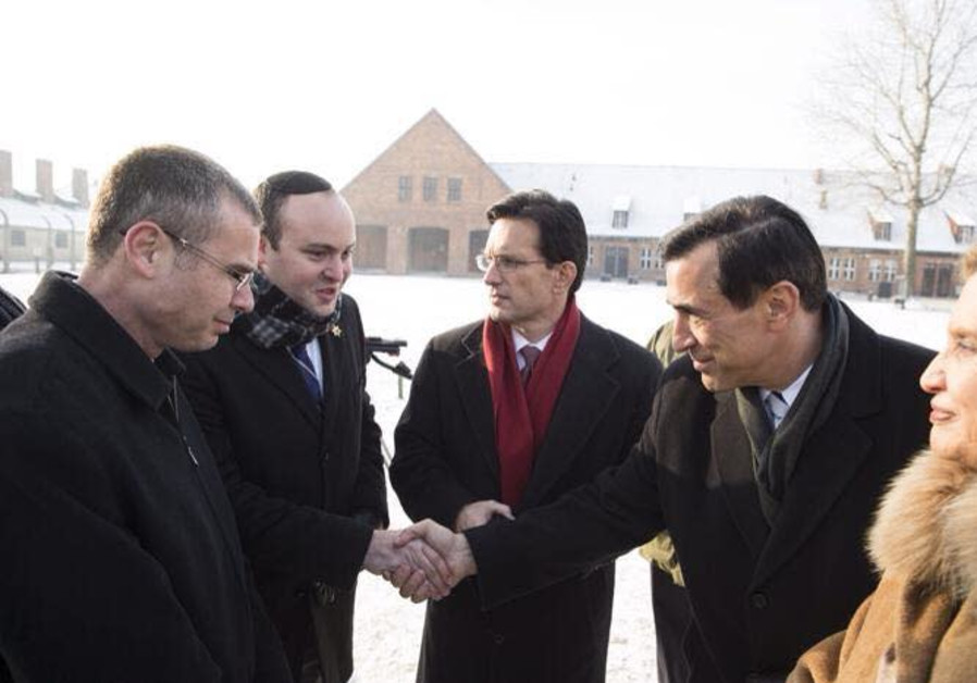 From the Depths founder Jonny Daniels in Auschwitz-Birkenau with a bipartisan delegation lead by then-Speaker Eric Cantor, Congresswoman Carolyn B. Maloney, Congressman Darrell Issa and Israeli Minister Yariv Levin. (From the Depths)