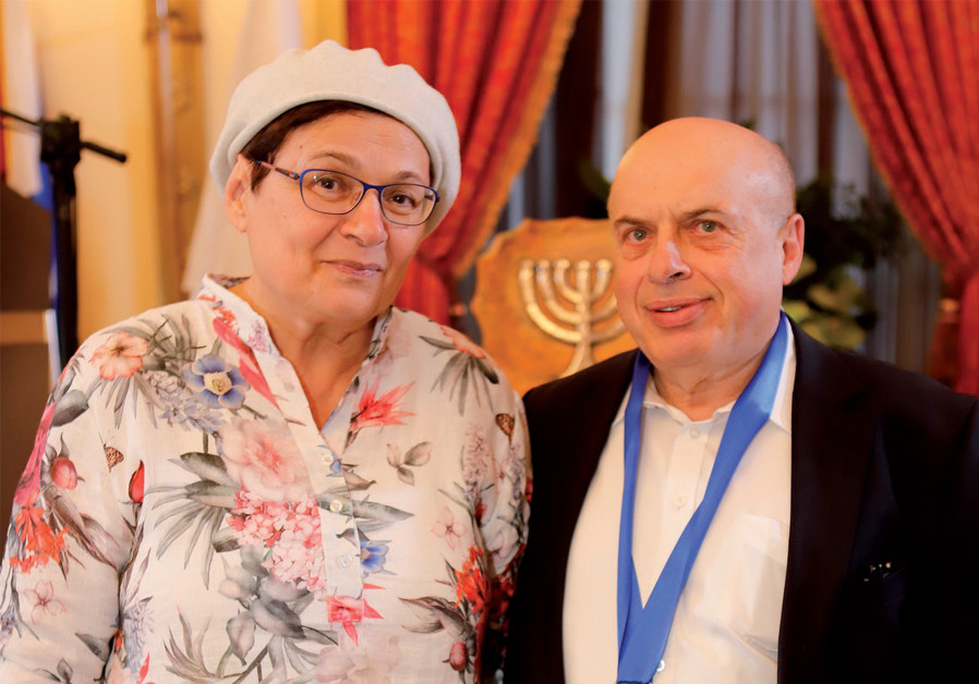 Avital and Natan Sharansky at the Guardian of Zion dinner on June 11 (Credit: YONI REIF)