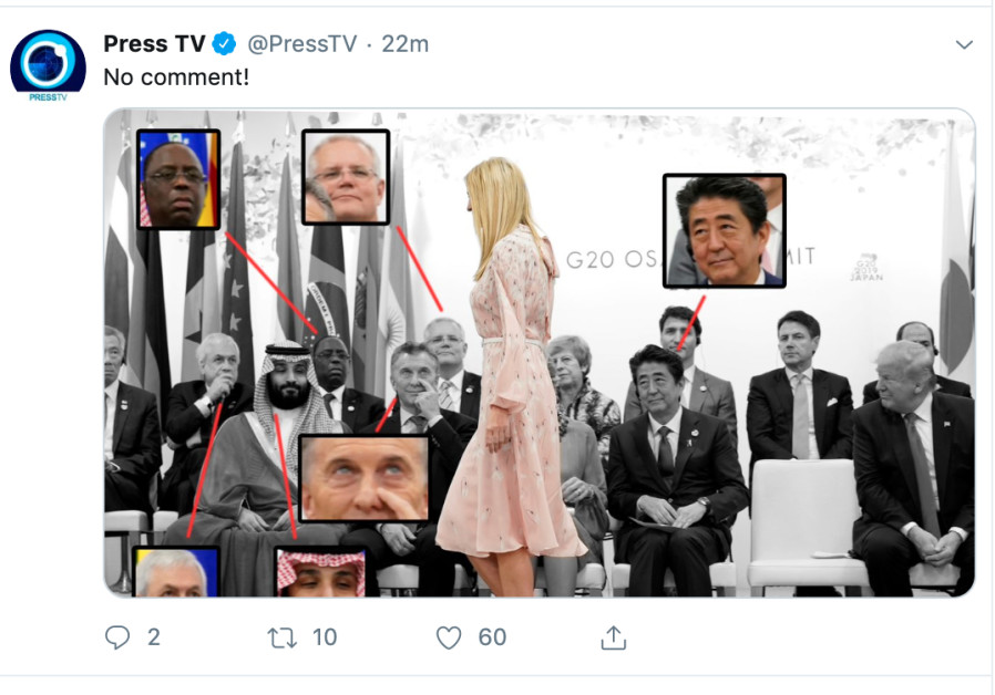 Tweet of G20 Leaders looking at Ivanka Trump