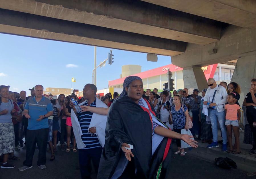 Ethiopian Israelis protest in Haifa on Monday