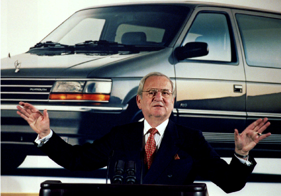 Former Chrysler Chairman Lee A. Iacocca is seen during a Chrysler briefing on earnings in February 1