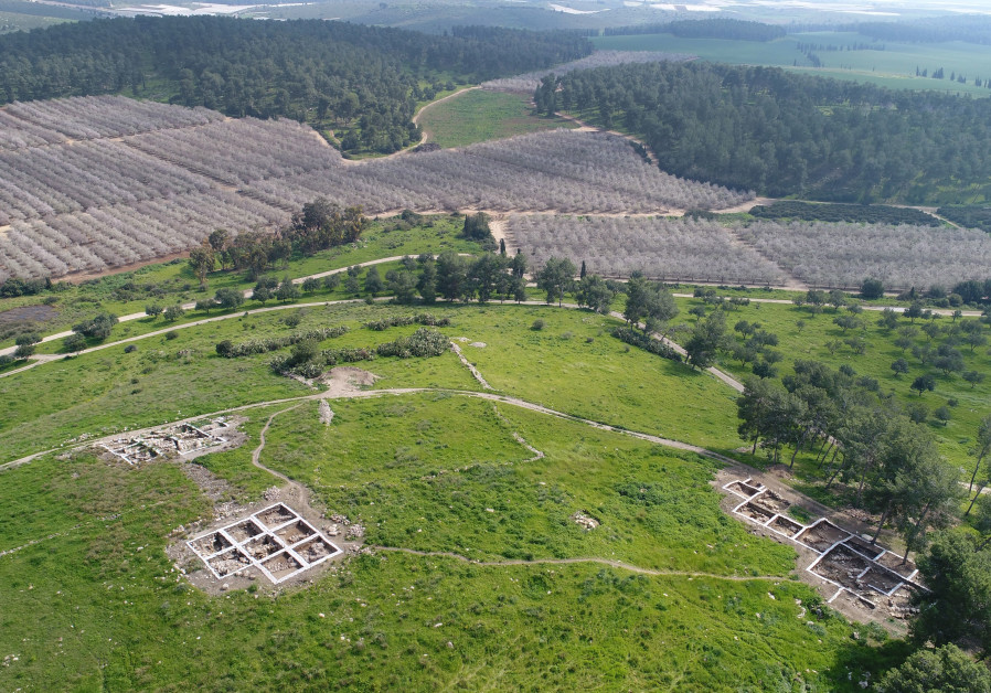 Aerial view of the archaeological site at Khirbet a-Ra'i.