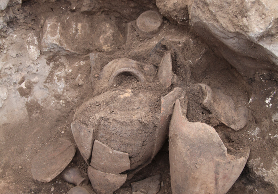 Jugs and vessels found at the archaeological dig