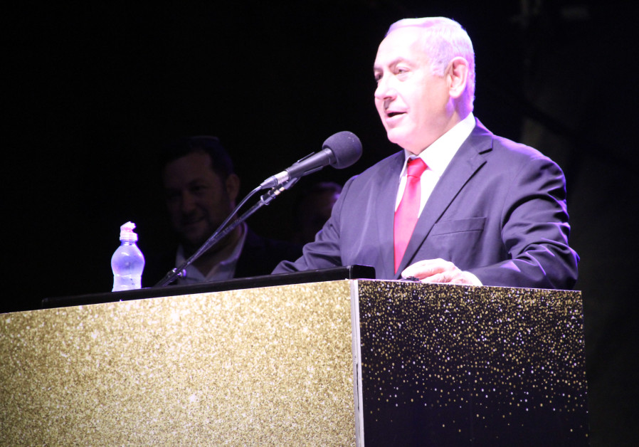 Prime Minister Benjamin Netanyahu in Revava at the 40th anniversary celebration of the Samaria Regional  Council.