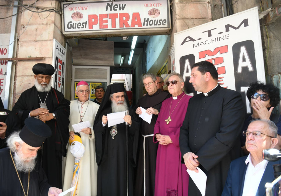 Greek Patriarch Theophilus III delivers a speech and prayer to reclaim leased property sold to Jews