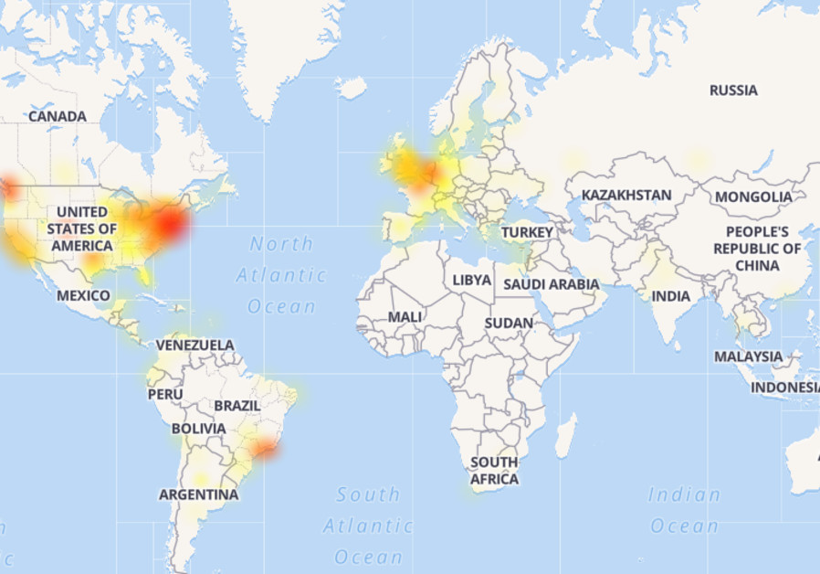 A map showing reports of Twitter outages worldwide. (downdetector.com)