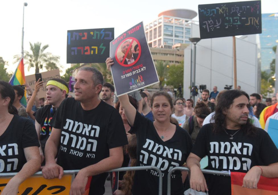 Thousands protest after Rafi Peretz stated that he supports gay conversion therapy.