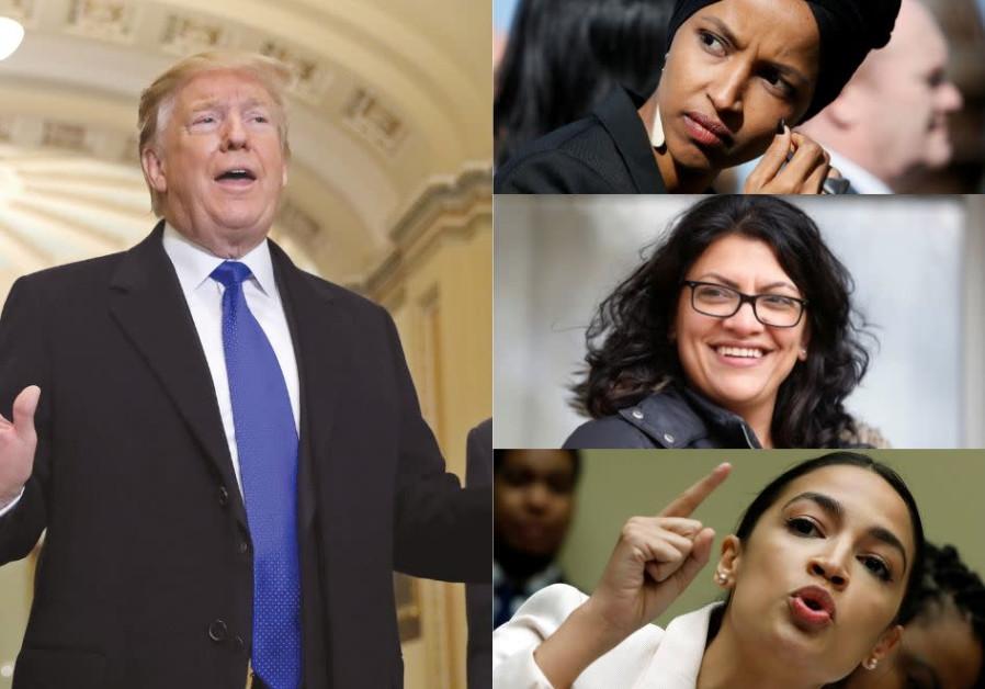 US President Donald Trump (left), called Alexandria Ocasio-Cortez (bottom right) and 'her crowd,' Ra