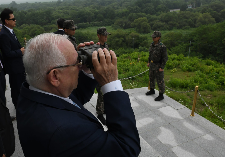 Israeli President Reuven Rivlin overlooks North Korea from the DMZ, South Korea, July 2019