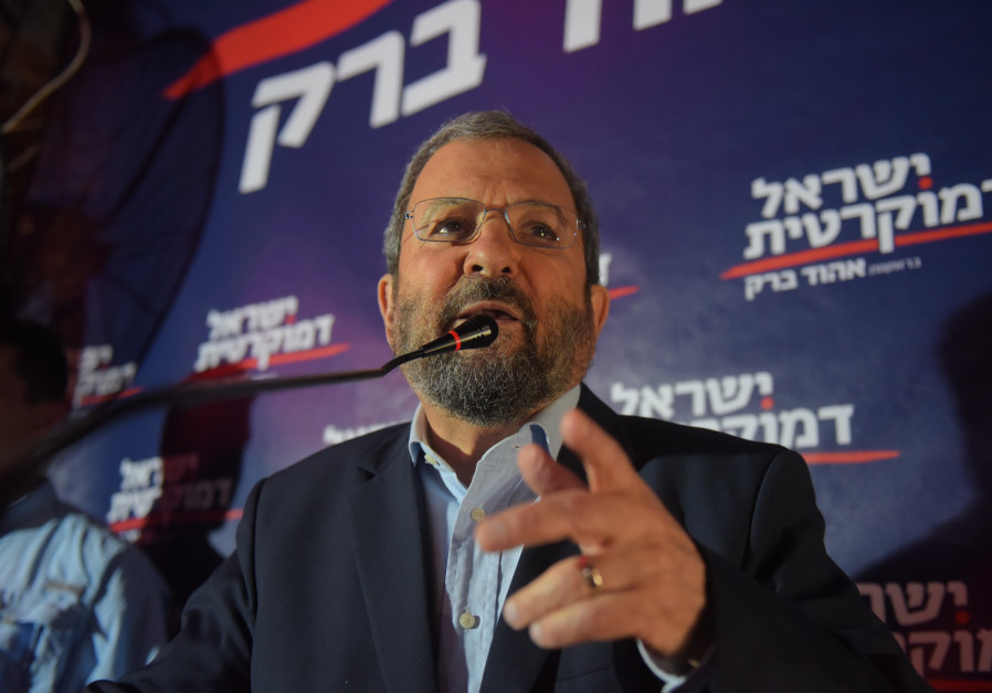 Ehud Barak speaks at a press conference with his Israel Democratic Party.