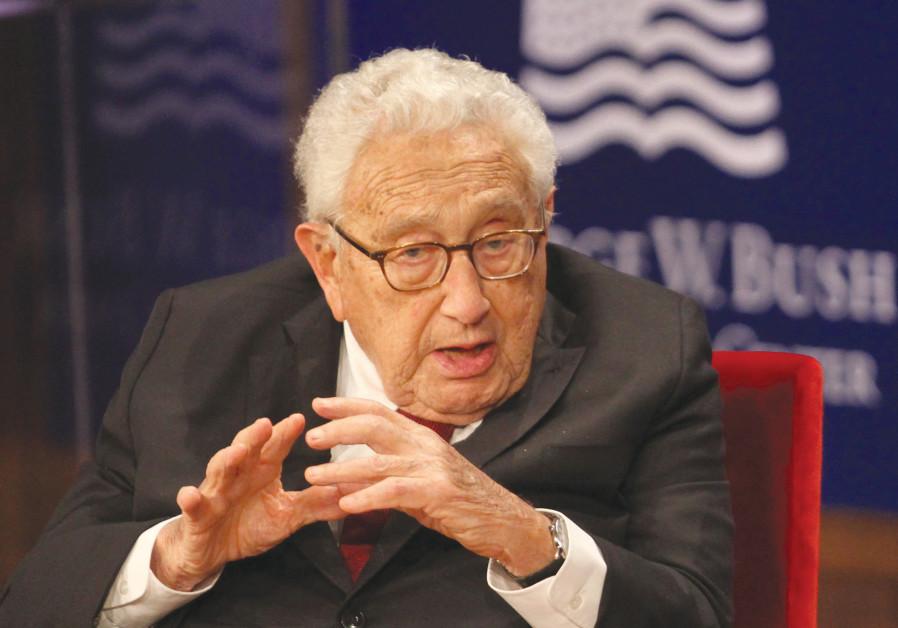 FORMER US SECRETARY of State Dr. Henry Kissinger speaks at the George W. Bush Presidential Center's