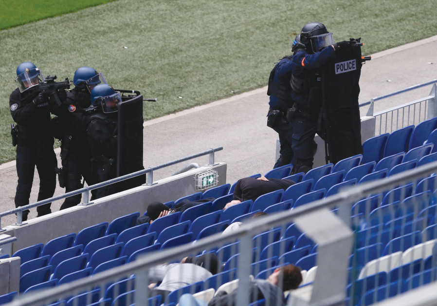 FRENCH POLICE take part in an anti-terrorism drill inside Groupama Stadium near Lyon, France, last y