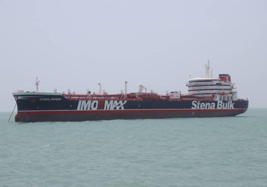 Stena Impero, un navire battant pavillon britannique appartenant à Stena Bulk, est vu au port de Bandar Abbas