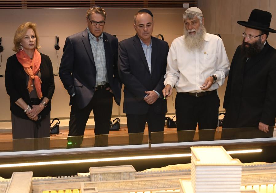 At the Western Wall, Rabbi Shmuel Rabinowitz, Rabbi of the Western Wall, led the Secretary and his w