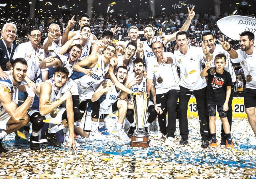 Israel's under-20 team celebrates after defeating Spain in the FIBA European Championship final.