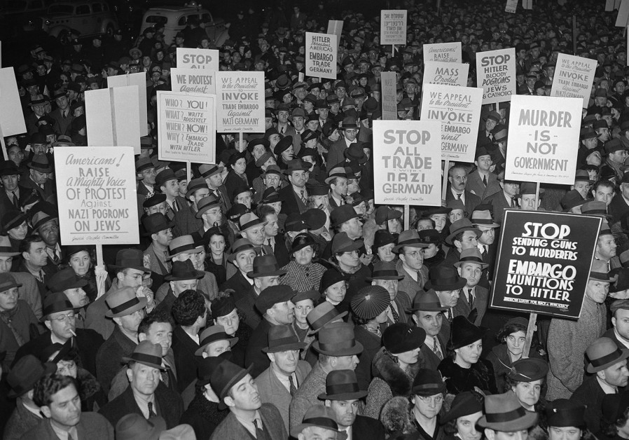 AMERICANS PROTESTING against trade with the Nazis before World War II.