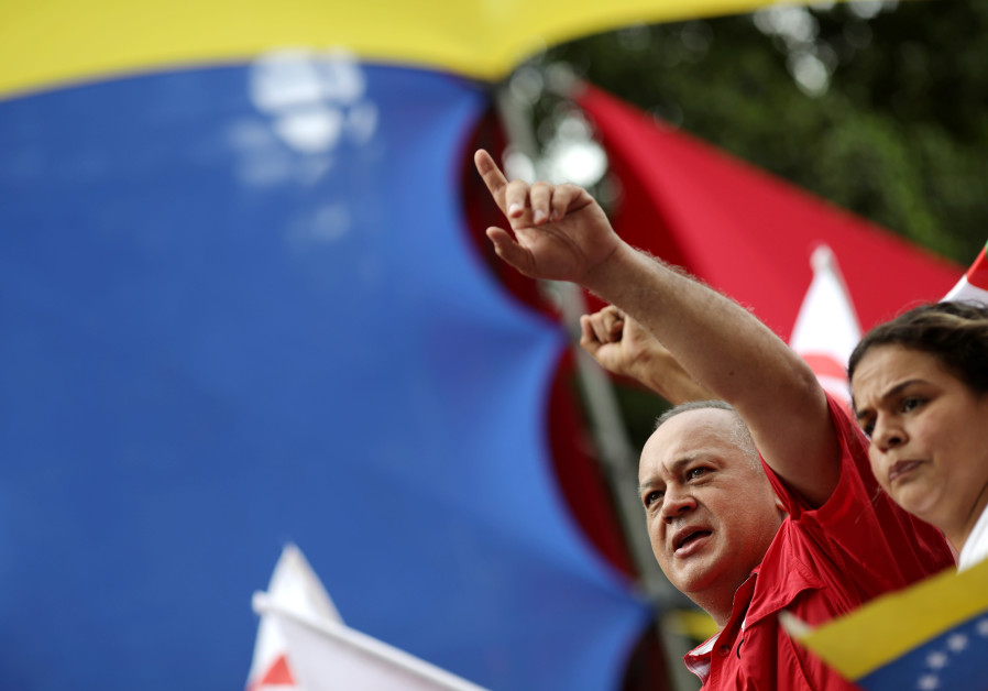 Venezuela's National Constituent Assembly President Diosdado Cabello takes part in a rally in suppor