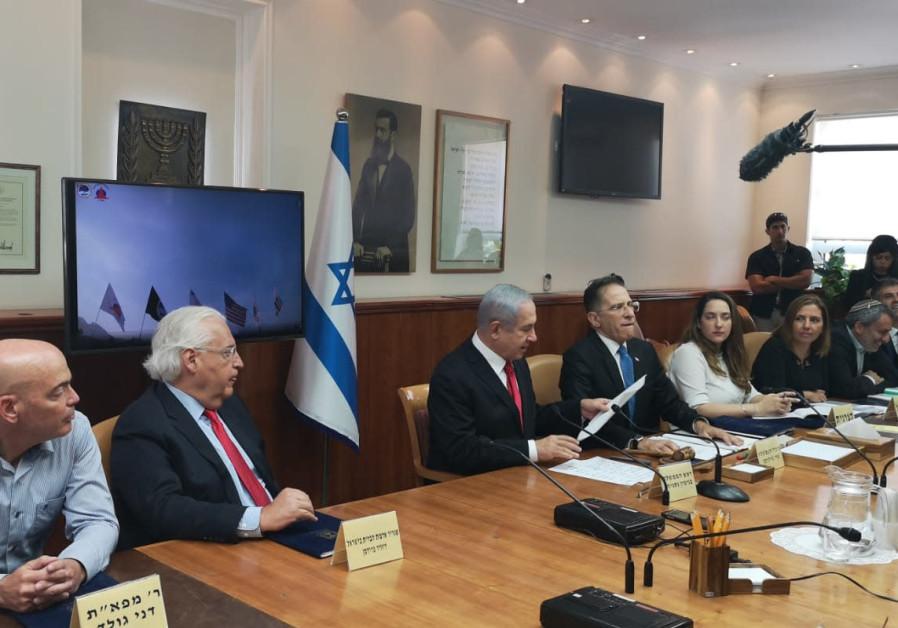 U.S. Ambassador to Israel David Friedman sitting next to Prime Minister Benjamin Netanyahu at the we