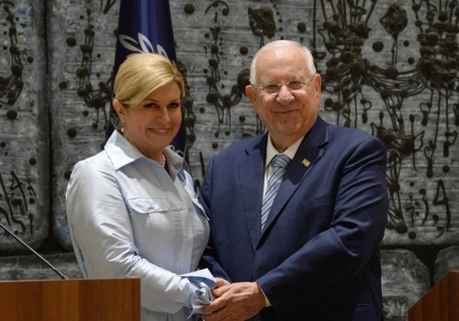 President Reuven Rivlin held a state reception for Croatian President Kolinda Grabar-Kitarović who v