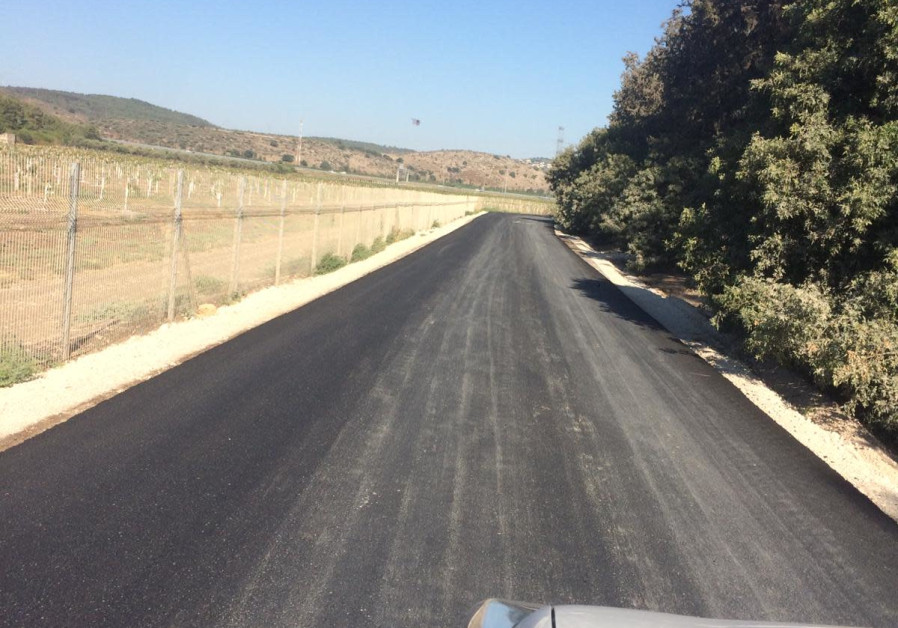 The access road to the Bedouin village of Khawaled