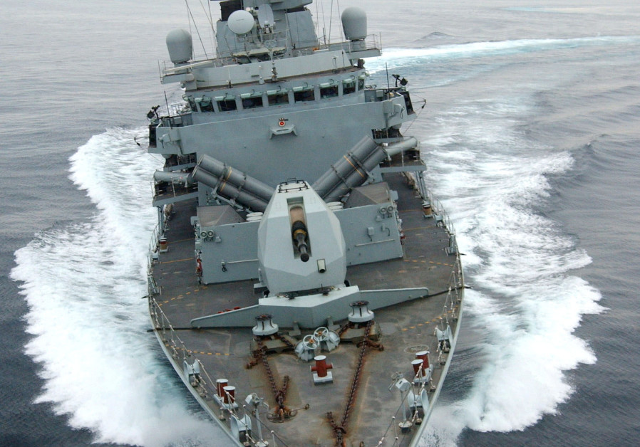 HMS Montrose performs a series of tight turns off Oman
