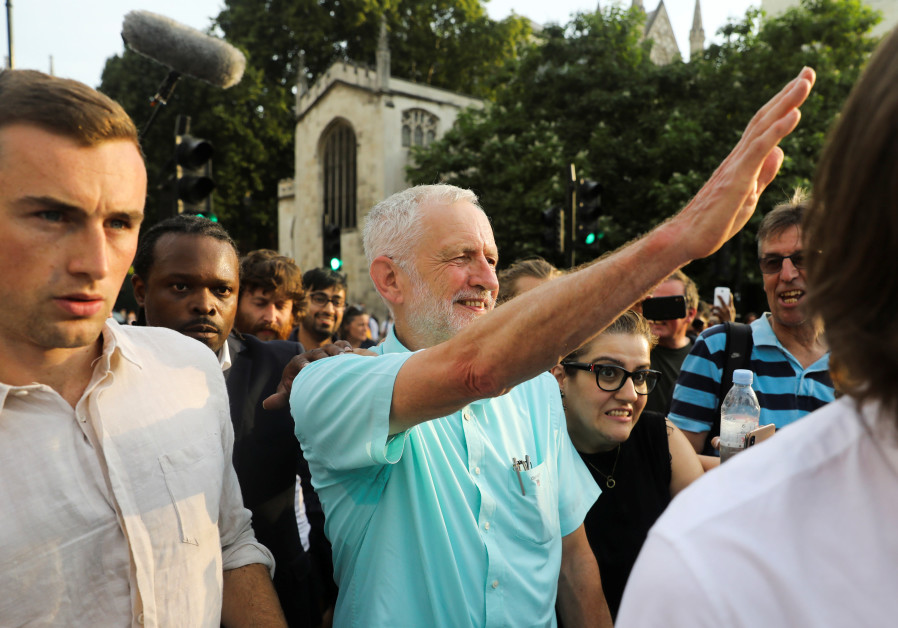 Britain's opposition Labour Party leader Jeremy Corbyn attends a rally calling for a general electio