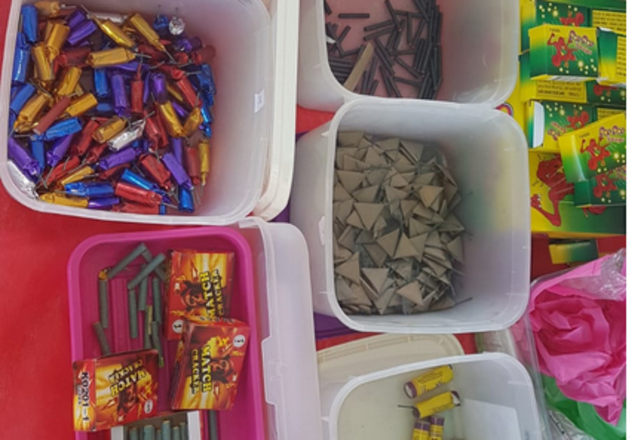 Illegal fireworks seized during the search in Kisra-Sumei, Israel, August 2019 (Photo Credit: Police Spokesperson's Unit)