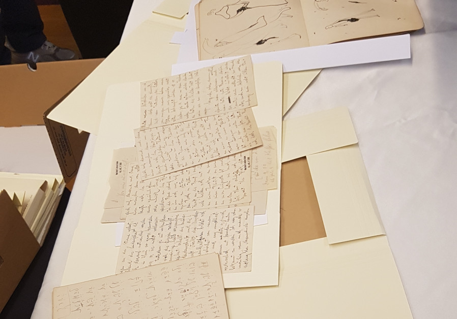 Some of the never-before seen sketches, Hebrew notebooks and other items belonging to famous Jewish