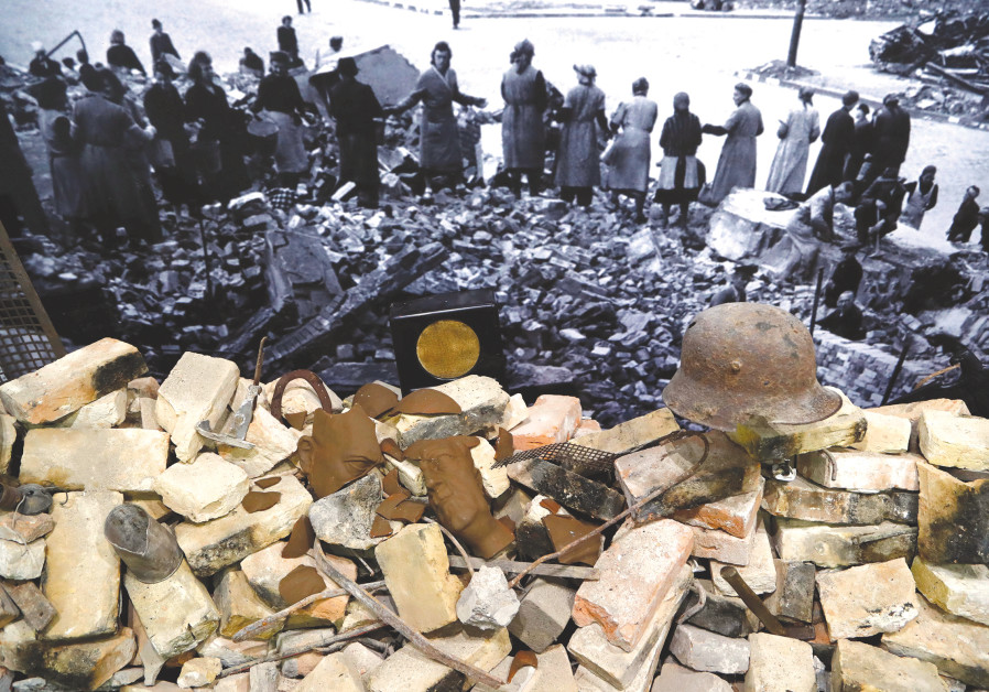 RUBBLE FROM the Nazi era pictured at an exhibition in Berlin