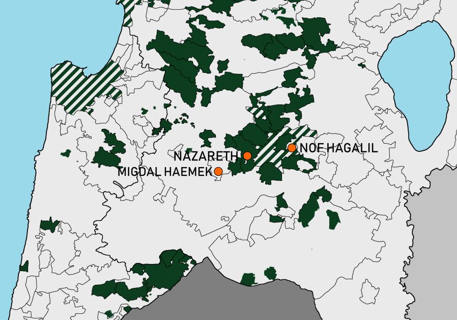 Nof Hagalil (Upper Nazareth), Nazareth and Migdal Ha'emek among Jewish and Arab localities (in green