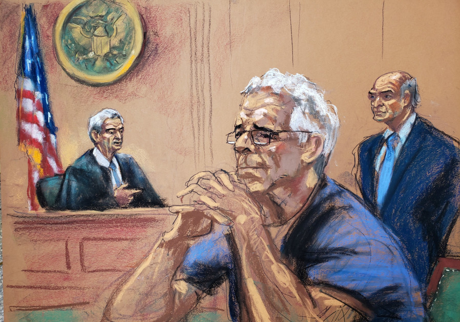 Jeffrey Epstein looks on during a status hearing in his sex trafficking case, in this court sketch.