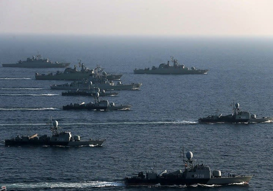 Iranian Navy ships on a training exercise