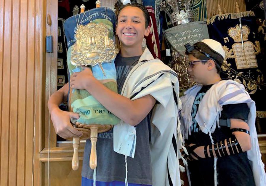 Cooper Lifshutz, grandson of Rabbi Lt.-Col. Oscar M. Lifshutz, celebrates his bar mitzvah in Jerusalem (Credit: COURTESY LIFSHUTZ FAMILY)