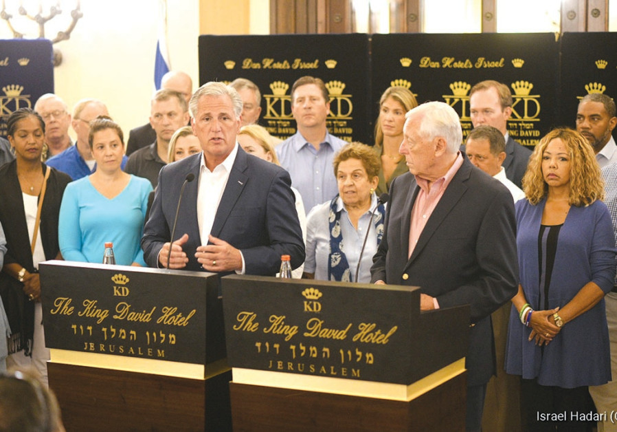A CONGRESSIONAL DELEGATION led by Democrat Steny Hoyer (right) and Republican Kevin McCarthy convene
