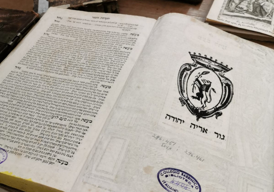 Books from the collection of the Union of Italian Jewish Communities.