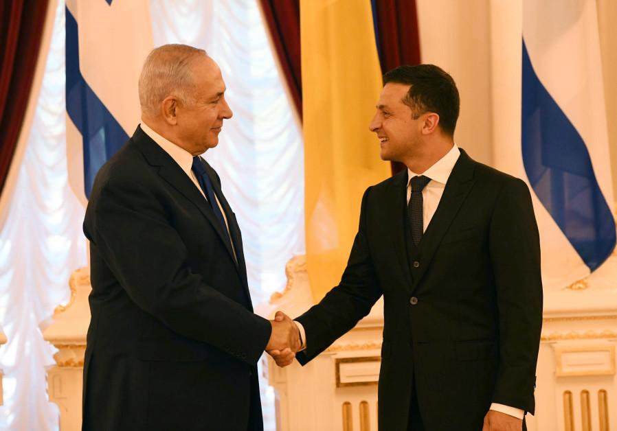 Prime Minister Benjamin Netanyahu meets with Ukrainian President Volodymyr Zelensky