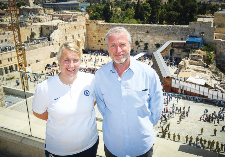 CHELSEA WOMEN'S manager Emma Hayes and club owner Roman Abramovich pose at the Western Wall