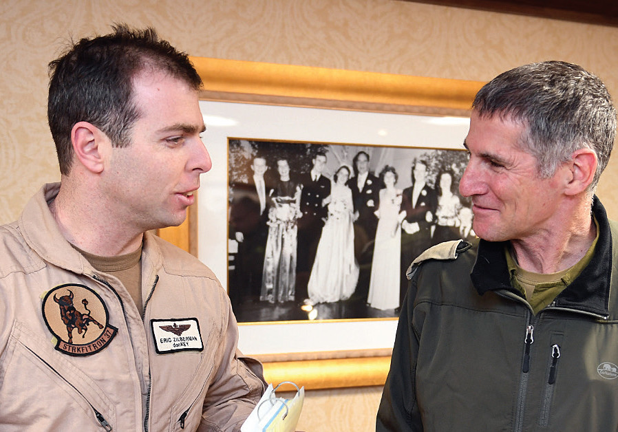 FORMER IDF deputy chief of staff Maj.-Gen (ret.) Yair Golan (right) on a visit to supercarrier 'USS George H. W. Bush' in February 2017. (Credit: US EMBASSY JERUSALEM/FLICKR)