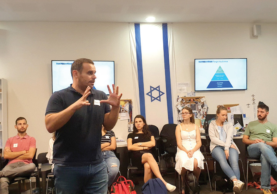 YANIV COHEN, Abba Eban Institute executive director, with institute students. (Credit: ABBA EBAN INSTITUTE)