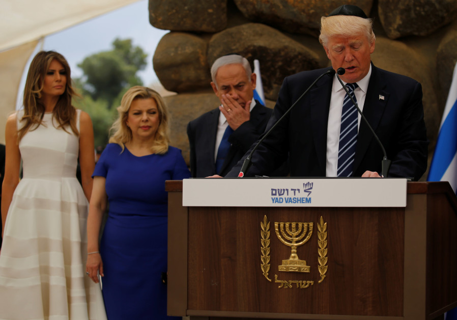 US President Donald Trump wears a kippah while delivering a speech at Yad Vashem in 2017