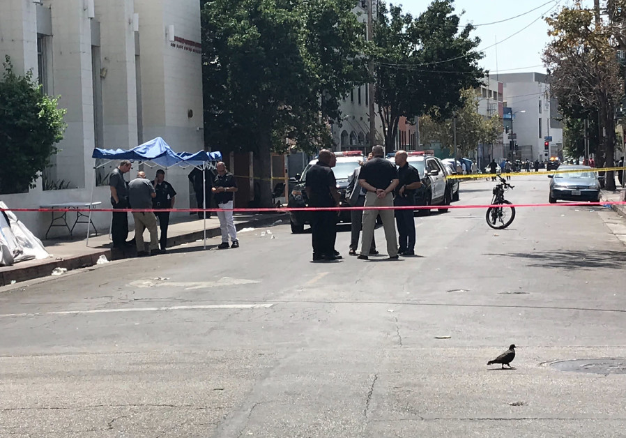 4 wounded in downtown LA shooting near police station