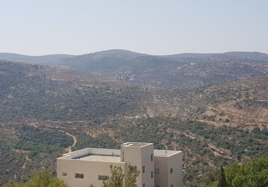 A view from Dolev settlement towards the area where the explosion occurred in Ein Bubin