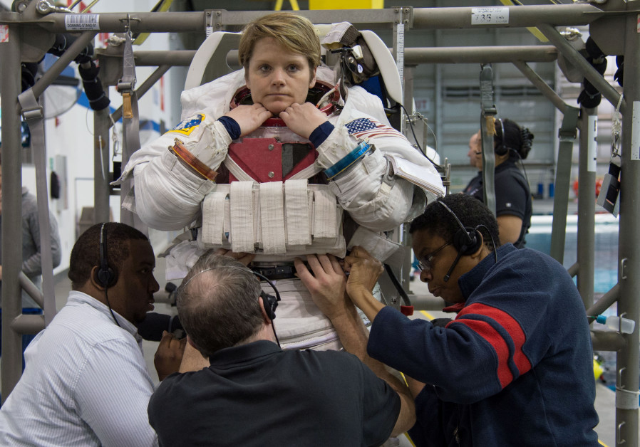 astronaut Anne McClain during training at the Neutral Buoyancy Laboratory in Houston