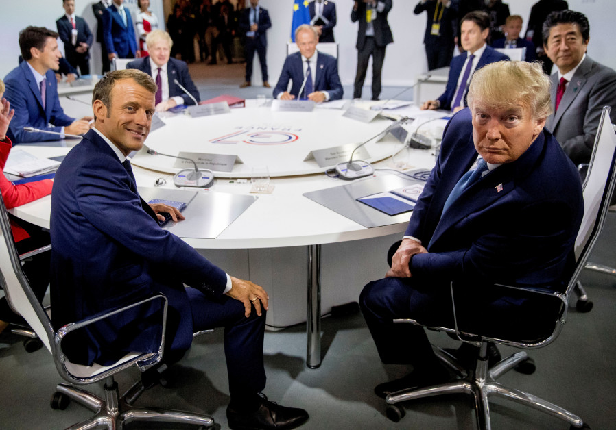 French President Emmanuel Macron and President Donald Trump participate in a G-7 Working Session on
