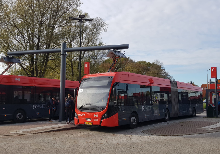 Electric buses on charge in the city of Edam, the Netherlands