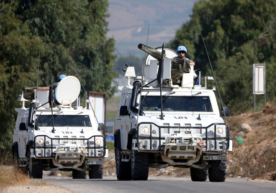 UN peacekeepers (UNIFIL) patrol the border with Israel, in the village of Khiam, Lebanon August 26,