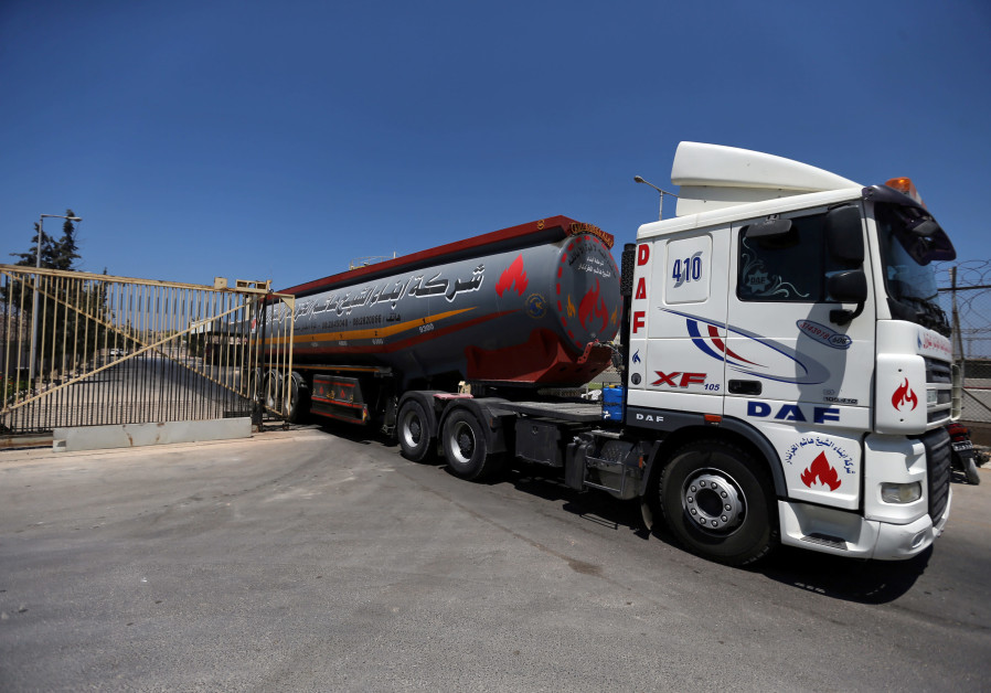 A fuel tanker leaves the Gaza power plant in the central Gaza Strip August 26, 2019
