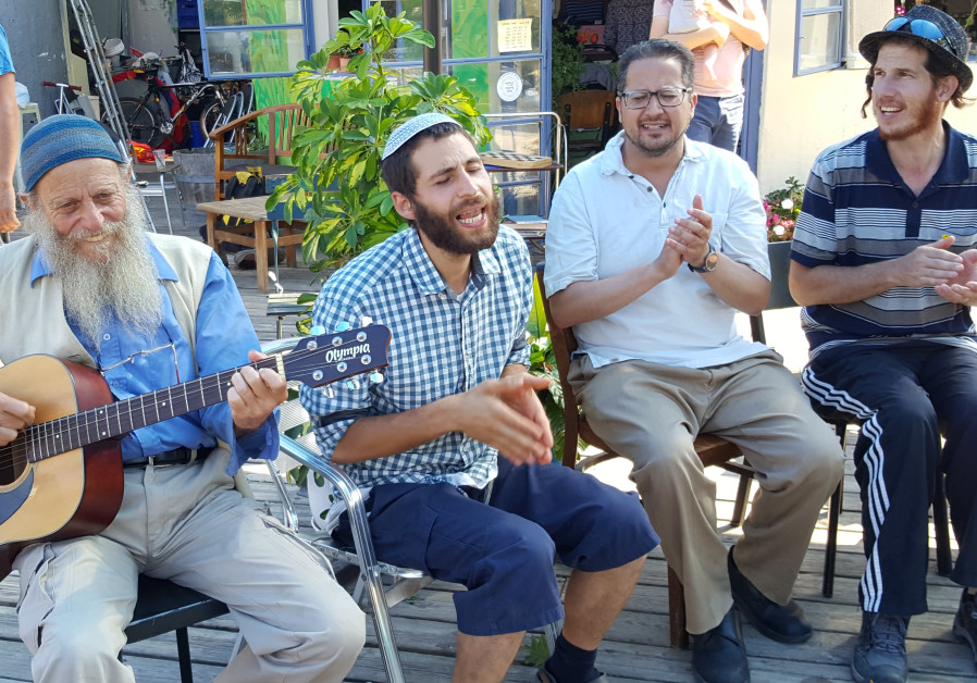 A musical Kabbat Shabbat ended the JeruStock event. ( From Right to Left) Yankele Shemesh, who was a
